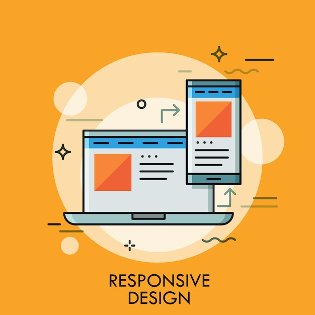 Laptop e smartphone con la stessa interfaccia dell'applicazione sugli schermi. concetto di responsive web design, pagina scalabile, desktop e app mobile Vettore Premium