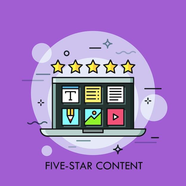 Computer portatile con icone delle applicazioni desktop sullo schermo e cinque stelle dorate. concetto di creazione di contenuti di alta qualità, recensione positiva, valutazione online Vettore Premium