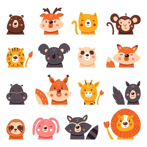 Ampia collezione di simpatici animali dei cartoni animati. Vettore Premium