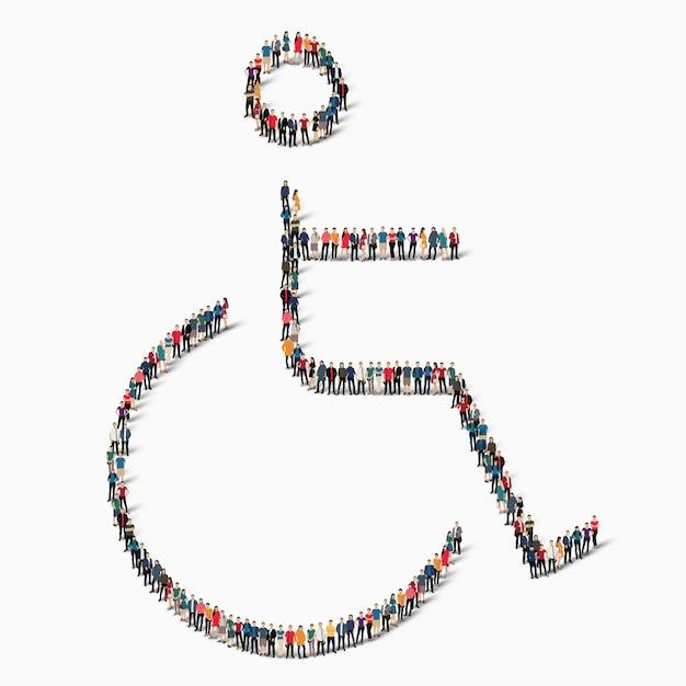 Un folto gruppo di persone in forma di persona disabile, invalido, medicina, icona. Vettore Premium