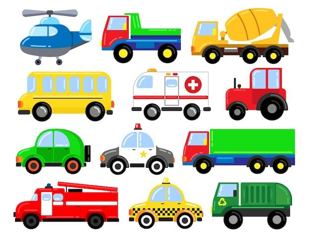 Un ampio set di auto. per l'apprendimento dei bambini in età prescolare. illustrazione del fumetto. attività con i bambini. Vettore Premium