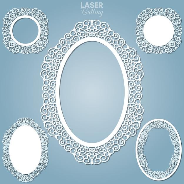 Cornici ovali astratte tagliate al laser con turbinii, ornamenti, cornice vintage. può essere usato per il taglio laser. cornici per foto con pizzo per il taglio della carta. Vettore Premium