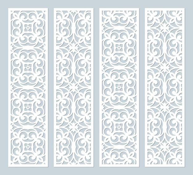 Modelli di bordi decorativi in pizzo tagliati al laser. set di modelli di segnalibri. pannello traforato dell'armadio. pannello metallico lasercut. intaglio del legno Vettore Premium