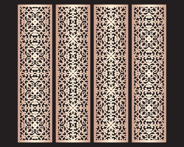 Modelli di bordi decorativi in pizzo tagliati al laser. set di modelli di segnalibri. pannello traforato dell'armadio. schermo metallico lasercut. intaglio del legno. Vettore Premium