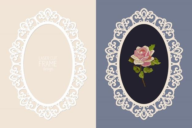 Cornice ovale in pizzo taglio laser, modello. cornice per foto ornamentale ritagliata Vettore Premium