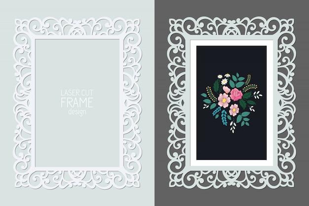Cornice rettangolare in pizzo taglio laser, modello. cornice per foto ornamentale con motivo. Vettore Premium