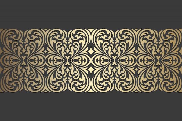 Design del pannello tagliato al laser. modello di bordo ornato vettoriale vintage per taglio laser, vetrate, incisione su vetro, sabbiatura, scultura in legno, cardmaking, inviti di nozze. Vettore Premium