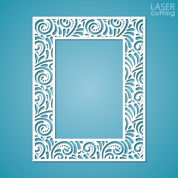 Struttura del pizzo della carta del taglio del laser, illustrazione. cornice per foto ornamentale con motivo. Vettore Premium