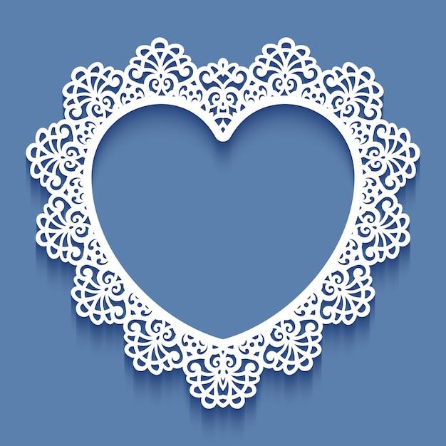 Struttura del pizzo della carta del taglio del laser a forma di cuore, illustrazione. cornice per foto ornamentale ritagliata Vettore Premium