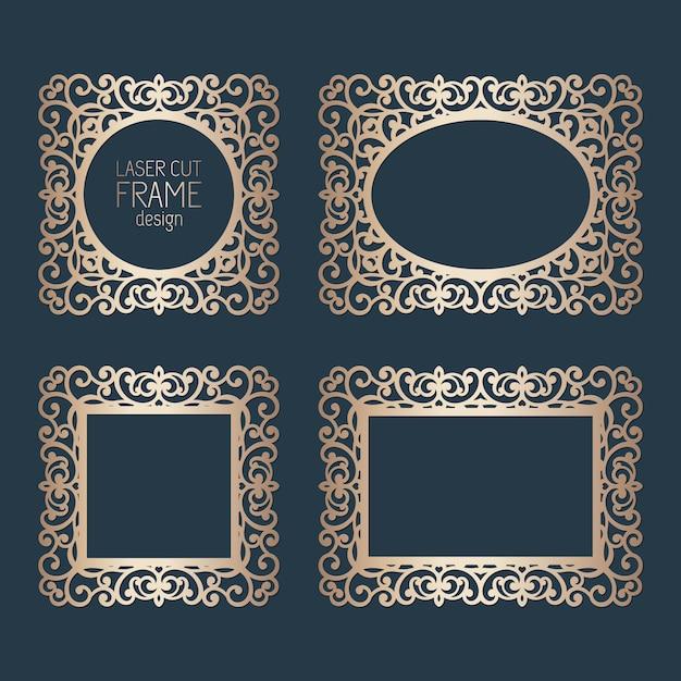 Strutture del pizzo della carta del taglio del laser, illustrazione. insieme della cornice della foto del ritaglio ornamentale, modello per il taglio. elementi per invito a nozze e biglietto di auguri. Vettore Premium