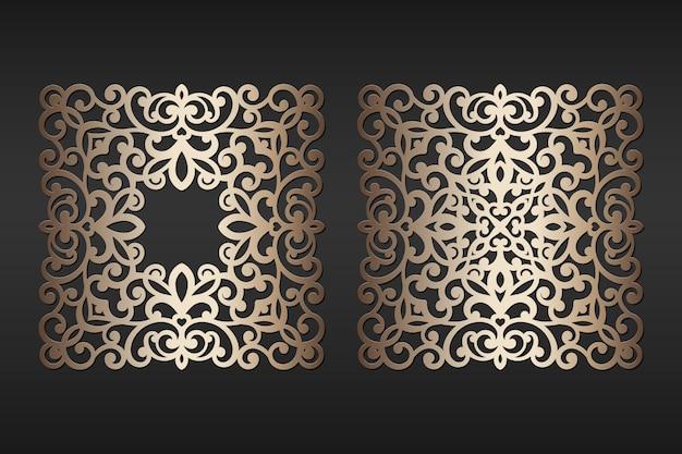Strutture del pizzo della carta del taglio del laser, illustrazione. cornice per foto ornamentale ritagliata, modello per il taglio. elemento per invito a nozze e biglietto di auguri. Vettore Premium
