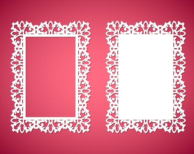 Strutture del pizzo della carta del taglio del laser, illustrazione. cornice per foto ornamentale ritagliata Vettore Premium