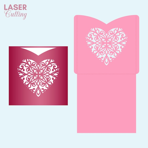Busta tascabile tagliata al laser con cuore fantasia. modello di carta di san valentino per il taglio. Vettore Premium
