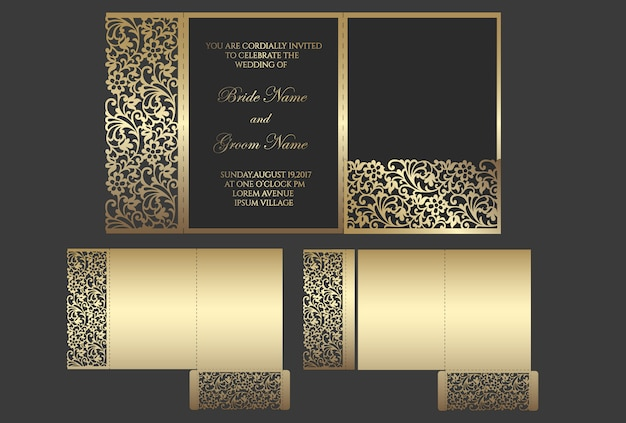 Busta tascabile tripla tagliata a laser per inviti di nozze. matrimonio ornamentale invito mockup. design a busta tascabile. Vettore Premium