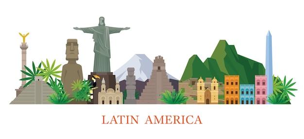Illustrazione di luoghi d'interesse dell'america latina Vettore Premium