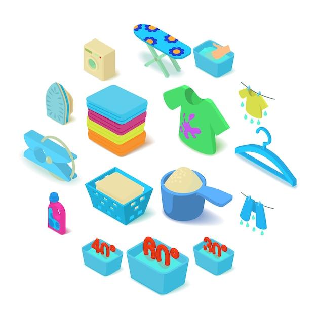 Set di icone di lavanderia, stile isometrico Vettore Premium