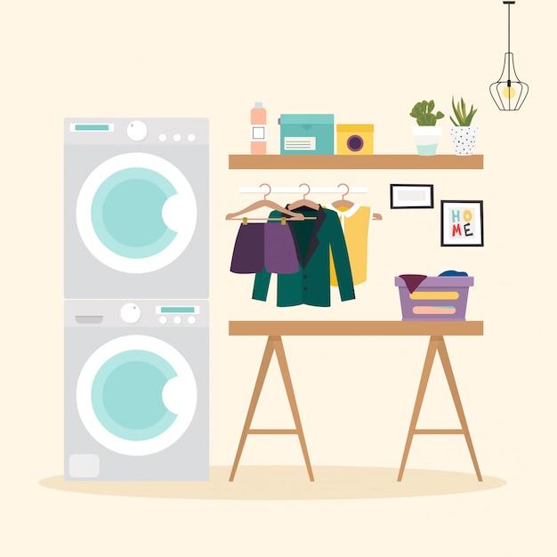Lavanderia con servizi per il lavaggio. lavatrice, boccetta, detersivo, vestiti elementi di design piatto, stile minimalista. illustrazione vettoriale Vettore Premium