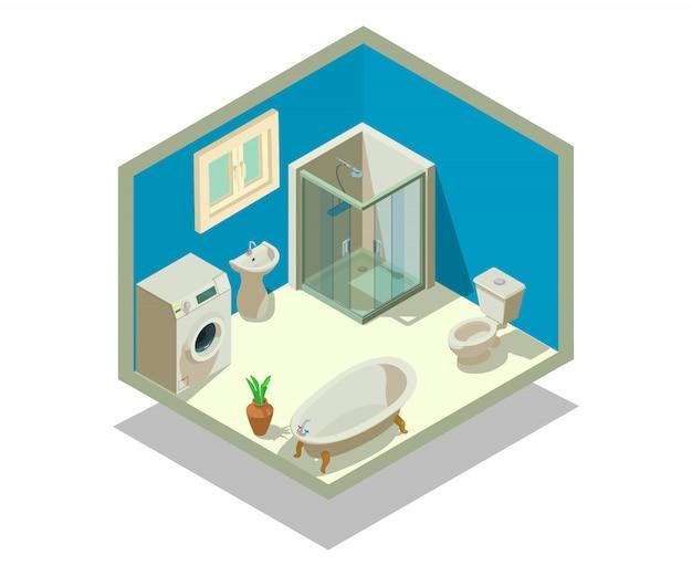 Scena di concetto di lavabo Vettore Premium