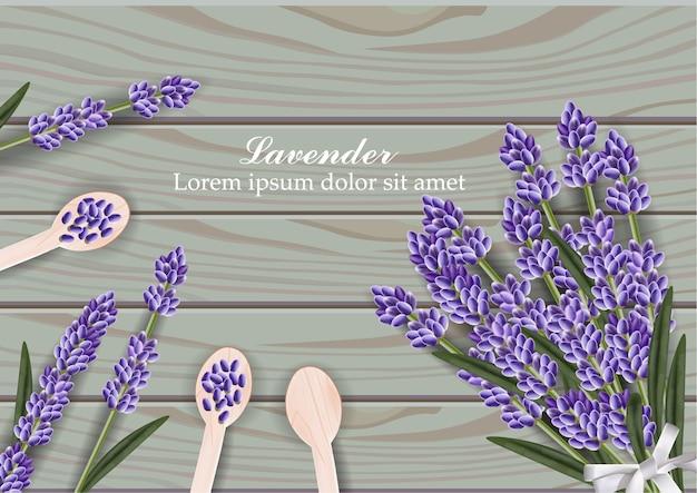 Mazzo dei fiori della lavanda su fondo di legno Vettore Premium