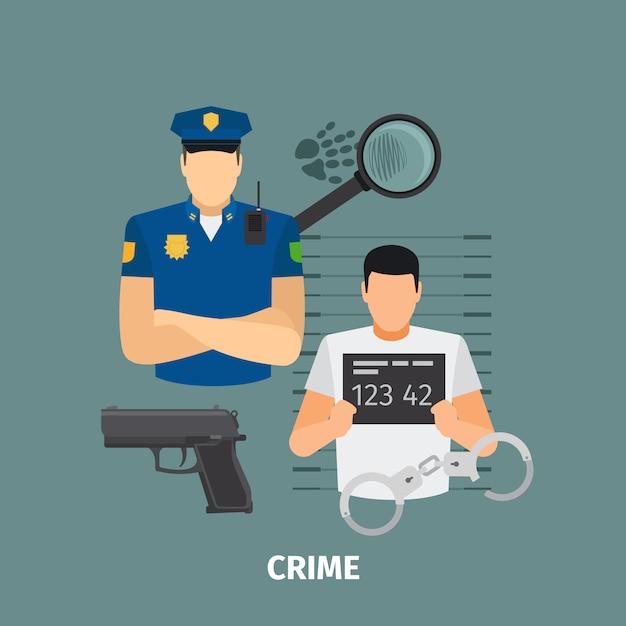 Concetto di legge con il crimine Vettore Premium