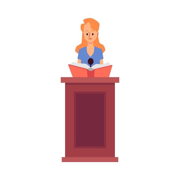 Il personaggio dei cartoni animati della donna dell'avvocato fa un discorso nell'illustrazione del tribunale su priorità bassa bianca. prove giudiziarie e indagini giudiziarie. Vettore Premium