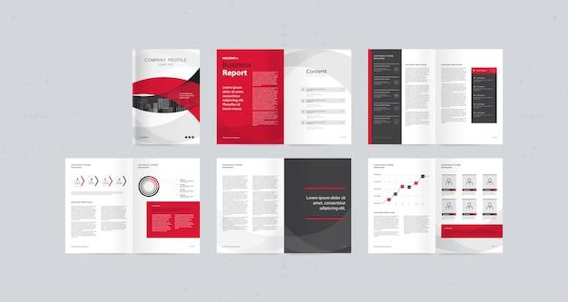 Modello di progettazione del layout con copertina di pagina per profilo aziendale, relazione annuale, brochure, riviste e libri Vettore Premium