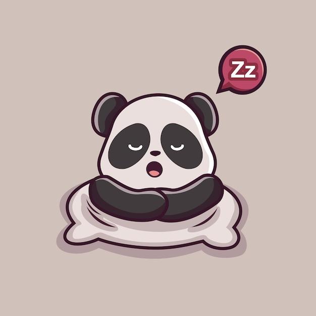Animali addormentati del fumetto del panda pigro Vettore Premium