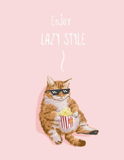 Slogan stile pigro con gatto grasso che mangia illustrazione di popcorn Vettore Premium