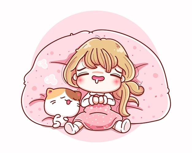 Donna pigra che dorme sul divano e disegno del personaggio dei cartoni animati. Vettore Premium