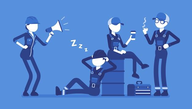 Lavoratori pigri a riposo. gruppo di giovani non disposti a lavorare, senza desiderio o energia, donna che dà ordini piangendo con il megafono. stile cartoon illustrazione su sfondo bianco Vettore Premium