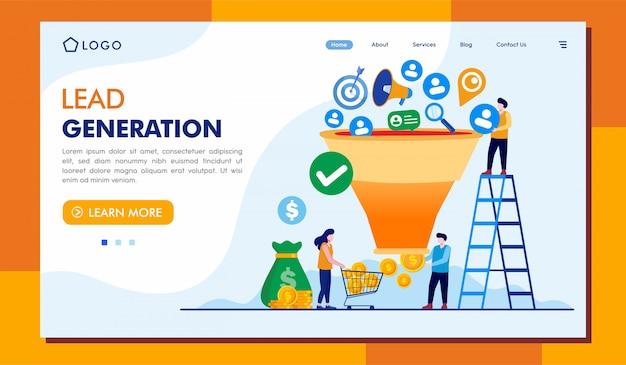 Illustrazione del sito web della pagina di destinazione di generazione di piombo Vettore Premium