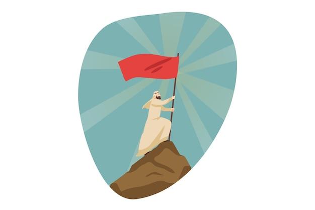 Leadership, conquista, raggiungimento degli obiettivi, successo, realizzazione aziendale Vettore Premium