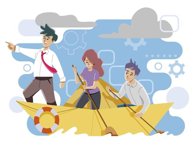 Concetto di leadership e lavoro di squadra Vettore Premium