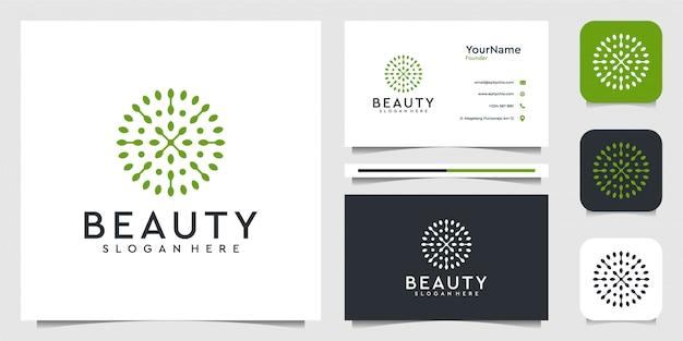 Grafico dell'illustrazione di logo del fiore della foglia in stile moderno. buono per piante, verde, marchio, pubblicità e biglietti da visita Vettore Premium