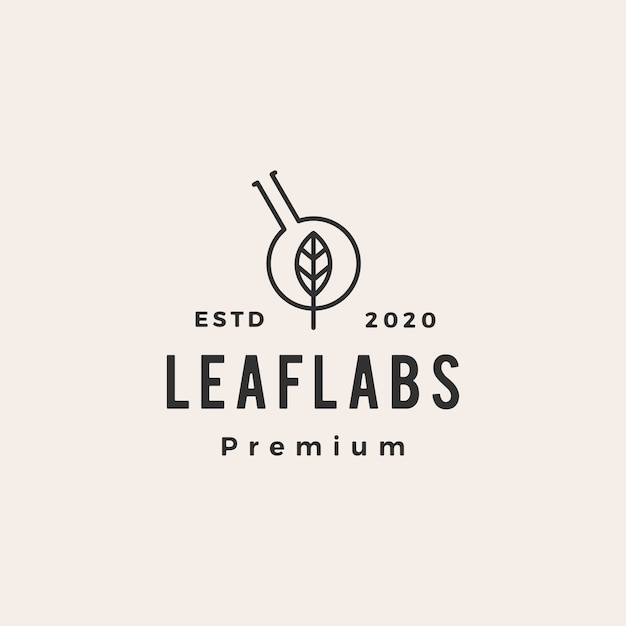 Illustrazione d'annata dell'icona di logo dei pantaloni a vita bassa dei laboratori del laboratorio della foglia Vettore Premium