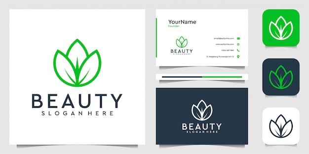 Design del logo foglia in stile art line. vestito per spa, fiori, decorazioni, piante, verde, botanica, pubblicità, marchio e biglietto da visita Vettore Premium