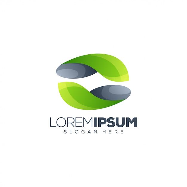 Logo design foglia Vettore Premium