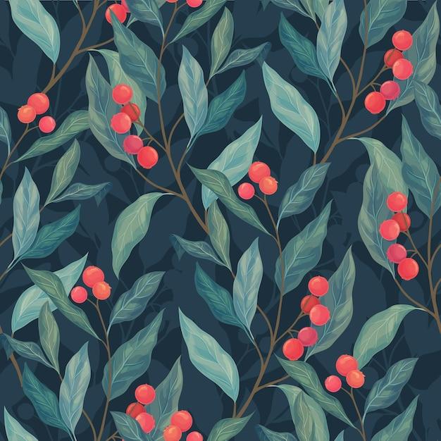 Foglie e bacche rosse seamless pattern su uno sfondo scuro. Vettore Premium
