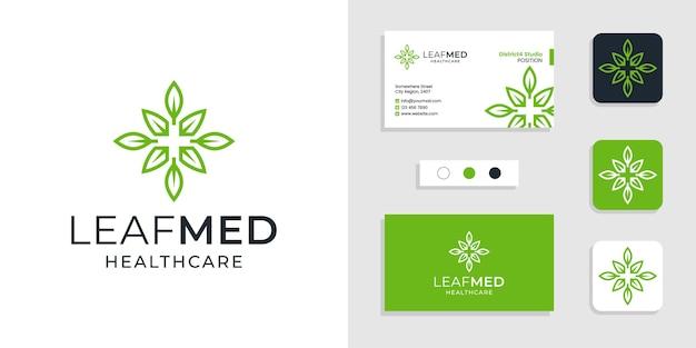 Foglie con design del logo sanitario medico segno più e modello di biglietto da visita creativo Vettore Premium