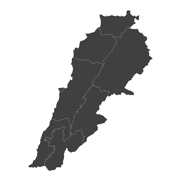 Cartina Del Libano.Mappa Del Libano Con Regioni Selezionate In Nero Su Bianco Vettore Premium
