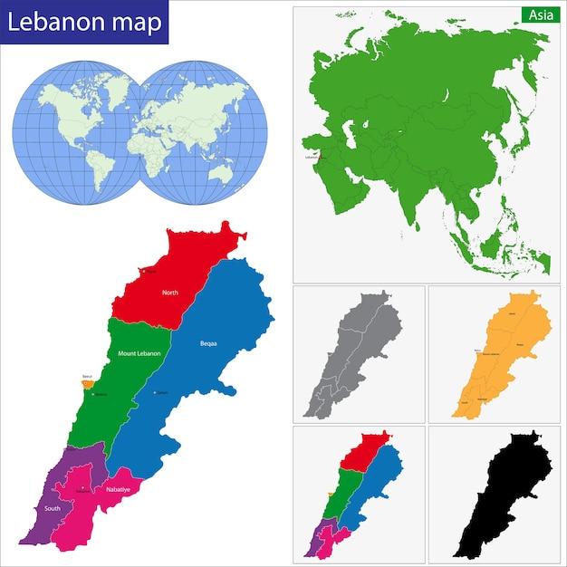 Cartina Del Libano.Mappa Del Libano Vettore Premium