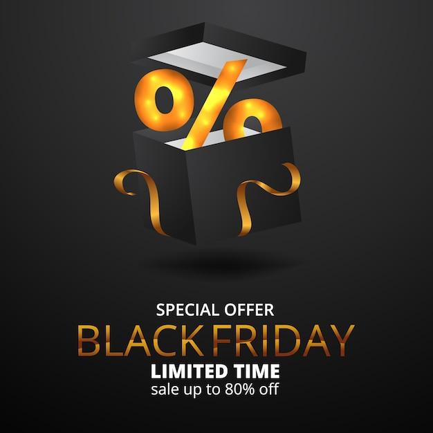 Percentuale di confezione regalo legant per banner offerta vendita venerdì nero Vettore Premium