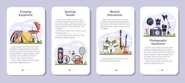 Set di banner per applicazioni mobili per la produzione di prodotti per il tempo libero Vettore Premium