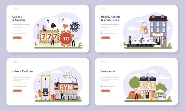 Settore dei servizi per il tempo libero del banner web dell'economia o del set di pagine di destinazione Vettore Premium