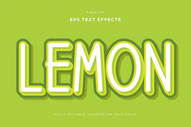 Effetto di testo 3d limone Vettore Premium