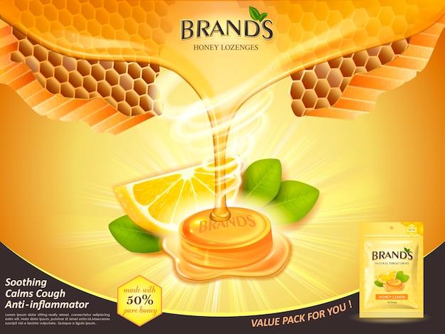 Gocce di gola al gusto di miele e limone con foglie ed elementi a nido d'ape, illustrazione sfondo dorato Vettore Premium