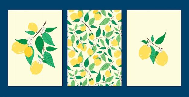 Limone imposta seamless Vettore Premium