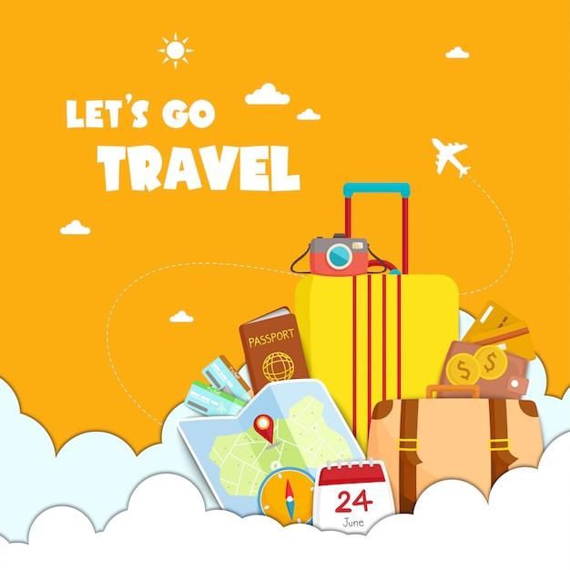 Andiamo illustrazione di viaggio Vettore Premium