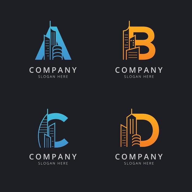 Lettera abc e d con modello di logo edificio astratto Vettore Premium