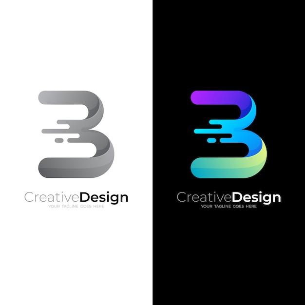 Marchio della lettera b con modello di logo swoosh e logo lucido Vettore Premium